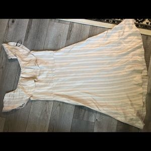 H&M Dresses - H&M rose gold striped off shoulder dress size 8